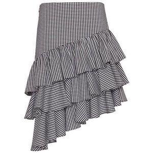 Intermix Checkered Ruffle Skirt